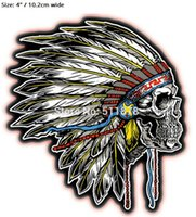 "Wholesale Feather Skull Metal - 4"" Indian Skull Side Feather Outlaw Rider Rock Heavy Metal biker vest Costume Embroidered iron on patch badge applique"