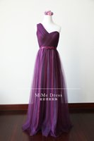 Wholesale Wholesale One Shoulder Lace Dress - New 2017 Grape A-Line Pleated Tulle One-shoulder Long Bridesmaid Dresses Under 50 Lace-up Maid of Honor Dress Cheap Wedding Guest Dresses