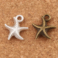 Wholesale Letter Beads Pendants - Corrugation Starfish Sea Star Charm Beads Fashion 14x16mm Antique Silver Bronze Pendants Alloy Handmade Jewelry DIY L014