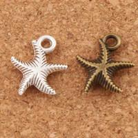 joyas de cuentas de mar al por mayor-Corrugación Estrella de Mar de Mar Charm Beads Moda 14x16mm Plata Antigua / Bronce Colgantes de Aleación de Joyería Hecha A Mano DIY L014