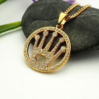 Wholesale Gold Crown Charms - crystal crown round pendant necklace hip hop gold plated necklaces with chain jewelry for men or women item number hps039