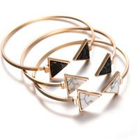 Wholesale Marble Gifts - Women Jewelry Bracelets Marble Pattern Triangular Round Open Turquoise Bracelet Cuff 2017 Fashion Personality Alloy Bracelet Wholesale