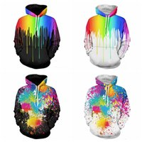 Wholesale Autumn Oil Paintings - 3D Printing Men's Pullover Hoodies Creative Oil Paint Sweatshirts American Style Autumn Cotton Coat Fashion Hoodies Multi Color Lovers