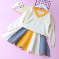 Wholesale Winter Stripe Skirt - Everweekend Girls V-Neck Tees Colorful Stripe Ruffles Skirt 2pcs Sets Lovely Children Autumn Outfits Western Fashion Clothing