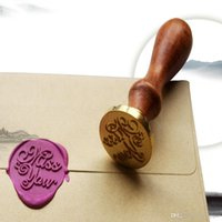 Wholesale custom wax seal - Unique Wood Handle Wax Seal Stamp Wedding Custom Greetings Envelope Seal Scrapbooking Alphabet Gift Seal Stick