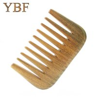 Wholesale Wooden Hair Brushes - YBF Pure Handmade Wide Wood Comb Designer Professional Health Care Massage Whole Wooden Small Green Sandalwood Hair Combs Gift