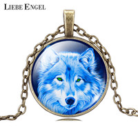 Wholesale Vintage Wolves - Wholesale-Cool Wolf Picture Pendant Necklace Vintage Bronze Statement Chain Jewelry Summer Style Glass Cabochon Necklace for Women 2015