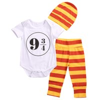 Wholesale American Platform - Baby letters peint romper 3pc set hat+romper+striped pants Platform Nine and Three_Quarters 9 3 4 romper outfits for 0-2T