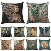 Wholesale Story Pillow - Nordic Mythology Story Printed Linen Cushion Cover Home Office Sofa Square Pillow Case Decorative Cushion Covers Pillowcases Without Insert