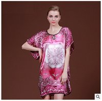 Wholesale Nightgown For Big Women - Big Size Women Nightgown Summer Style Home Clothing Night Shirt Of Dressing Gowns For Women Satin Silk Bathrobe Fashion Print Homewear Dress