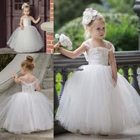 Wholesale Newest Tutu Dress - Cute Tutu Flower Girls Dresses For Weddings 2017 Newest Strapless Portrait Lace Tulle Floor Length Ball Gown Pageant Dresses Bridesmaid Gown
