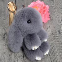 Wholesale Phone Rabbit - Rabbit Keychains Bunny Keychain Genuine Fur Women Trinket Pompom Bag Charm Hare Keyring Pompon Key Holder For Phone Car Jewelry Gift