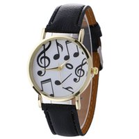 Wholesale Music Buckles - 2017 Fashion mens women music notes printing leather watch unisex casual new wholesale ladies students sport quartz watches