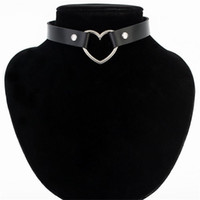 Wholesale Punk Buckle Choker - Fashion Sexy women necklace Punk Gothic Leather Choker necklace Heart Studded Spike Rivet Buckle Collar Funky Torques Necklace Jewelry