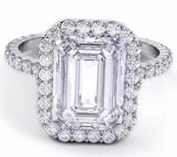 Wholesale Emerald Cut Engagement Rings - 15.00 CTW Emerald Cut GIA Certified Halo Diamond Engagement Platinum 950 Ring