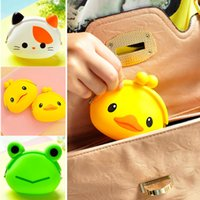 Wholesale Jelly Hobo Bags - Wholesale- 2016 New Fashion Lovely Kawaii Candy Color Cartoon Animal Women Girls Wallet Multicolor Jelly Silicone Coin Bag Purse Kid Gift