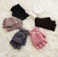 Wholesale warmest winter mittens for women - Women Fingerless Gloves Winter Half Finger Flip Knitted Mittens For women Warm Winter Gloves Coral fleece Glove KKA3317