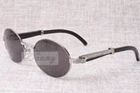 Wholesale Best Quality Eyeglasses - high-end round diamond sunglasses 7550178 natural Black angle bending Best quality sunglasses men Female eyeglasses size: 57-22-135 mm