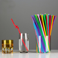 Wholesale store supply wholesale - 100Pcs Disposable Straws Mixed Colours Flexible Plastic drinking straw Kids Birthday Wedding Decoration Event Supplies Store Wine juice Milk