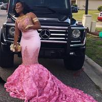 vestidos de baile estilo africano venda por atacado-2k17 aso ebi sereia vestidos de noite estilo africano rose flores decote sexy vestido de baile longo rendas apliques contas árabes