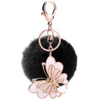 Wholesale Cute Butterfly Keychain - Crystal Butterfly Fluffy Rabbit Ear Fur Ball Key Chain Cute Pompom Artificial Rabbit Fur Keychain Bag Key Ring