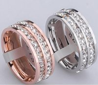 Double Row Rhinestone Rings, Rose or / Silver Metal colors Titane Acier inoxydable Femmes / Hommes Wedding Band / Engagement Jewelry