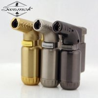 Wholesale Tool Spray - Wholesale- Compact Butane Jet Lighter Torch Lighter Gasoline Fire Windproof Spray Gun Metal Lighter Keychains Mini Barbecue tool NO GAS