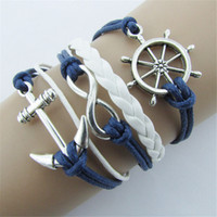 nautische lederarmbänder großhandel-Wholesale-New Silver Infinite Bracelets Jewelry Nautical Rudder Anchor Blue Leather Rope Armreif A1