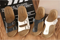 Wholesale t cork - Wholesale-Hot selling !Men's cork sandals summer sandals slippers Women's casual sandals genuine flip flops white black US size 5.5-9.5