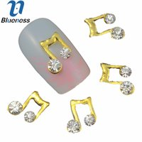 Wholesale nails music - Wholesale- 10 Pcs Lot 3D Gold Alloy Nail Art Decorations Crystal Rhinestones For Nails Music Note Design Manicure Supplies TN496