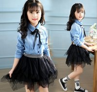 Wholesale Girls Demin Skirts - New Arrival Summer Hot Sell Kids Adorable Clothes Outfit Demin Shirt+ Tutu Skirt High Quality Kids Baby Girls Sweet Outwear Wholesale Q0851