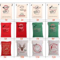 Wholesale free christmas trees - 2017 Christmas Gift Bags Large Organic Heavy Canvas Bag Santa Sack Drawstring Bag With Reindeers Santa Claus Sack Bags Free DHL XL-288