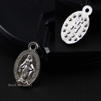 Wholesale Catholic Virgin Mary - Wholesale-8*14mm Catholic religious Gifts Virgin Mary Sacred Hearts The Miraculous Medal holy Medal love heart zinc alloy Charm Pendant