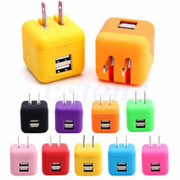 Wholesale Iphone Cute Plug - NEW Travel Wall Charger Dual USB Port 2.1A Cute design Home Charging Adapter US Plug For Cell Phone for iphone 7Plus samsung S6 random color