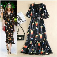 Wholesale Designer Dress Woman S - UK 2017 Summer Women New Fashion Runway Designer Dress V neck Mid-calf Casual party Black Long Dress Female Vestido Sundress