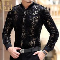 ingrosso vestiti di stampa nero del leopardo-All'ingrosso 2016 Camisas Masculina sociale Chemise Slim Fit Velluto nero oro Camicie Camicie di seta stampa leopardo Velluto di lusso Mens Luxo
