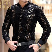 Wholesale Mandarin Slim Fit - Wholesale- 2016 Camisas Social Masculina Chemise Slim Fit Velvet Black Gold Dress Shirts Leopard Print Silk Shirts Luxury Velvet Mens Luxo