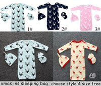 Wholesale Clothes Characters Baby - INS Xmas Infant Baby Deer Romper 3PC Set Long Sleeve Deerlet Cotton Boys Girls Infant Pajamas Sleepwear Sleepsuit Jumpsuit Baby Sleeping Bag