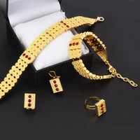 Nouveaux bijoux Colliers à cuisses Top 24k Real Yellow Solid Gold GF Collier Bracelet Earring Ring Sets Eritrea Habesha Africa Femmes Heavy Thick