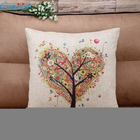 Wholesale Wholesale Plain Burlap Pillows - Wholesale- Ouneed Happy Gifts 45 x 45cm Pillow Case Pillow Cover Living Room Sofe Good Quality Burlap Square Pillowslip Tree