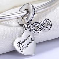 diy armband für freunde großhandel-Großhandel 925 Sterling Silber Nicht Überzogen Für Immer Freund Anhänger Charme Europäischen Charme Perlen Für Pandora Schlangenkette Armband DIY Schmuck