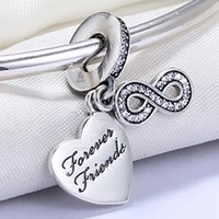 Wholesale Forever Bracelets - Wholesale 925 Sterling Silver Not Plated Forever Friend Pendant Charm European Charms Beads Fit Pandora Snake Chain Bracelet DIY Jewelry
