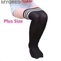 Wholesale Dance Knee High Socks - sexy women solid stripes body stockings plus size thigh high lady over knee long big socks for basketball dancing party club 40pair DHL