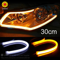 2 PZ / LOTTO 30 CM Flessibile Strip LED Switchback Bianco Ambra giallo Tubo Rosso Daytime Running Light DRL Faro Universal Car luci