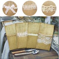 yeni stil el yapımı çantalar toptan satış-Yeni Avrupa tarzı Noel düğün dekorasyon malzemeleri El Yapımı keten sofra çantası Yay dantel kaşık çanta IA718