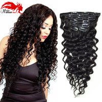 Coupelles de cheveux humains de 26 pouces France-Deep Curly Human Remy Hair Clip in Extensions, clip de cheveux brésilien en extension, 7pcs / set, 10-26 pouces en stock, couleur 1B cheveux brésiliens