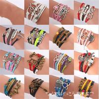 tricot antique achat en gros de-Bracelets d'amitié Designer couche de cuir imitation bracelet Antique croix d'ancre amour coeur Owl Believe Knitting Charm Bracelets Bijoux