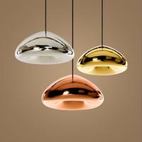 pendentif argent cuivre achat en gros de-Or / argent / cuivre abat-jour en verre luminaires suspendus éclairage moderne salle à manger cuisine contemporaine nordique restaurant