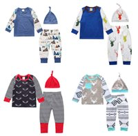 Wholesale Christmas Reindeer Top - Baby clothing Christmas Baby clothes set Letters Reindeer Top Long sleeve +pant+hat Three-piece 2017 Autumn Spring