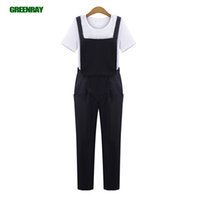 Jumpsuits black union suit - Women Black blue Pocket Jumpsuit Rompers Chiffon Dungarees Suspenders Overall Union Suit Playsuit bodysuit One Piece Hot Pants